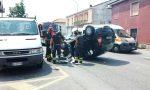 Schianto in via Verdi a Seregno, auto si ribalta (FOTO E VIDEO)
