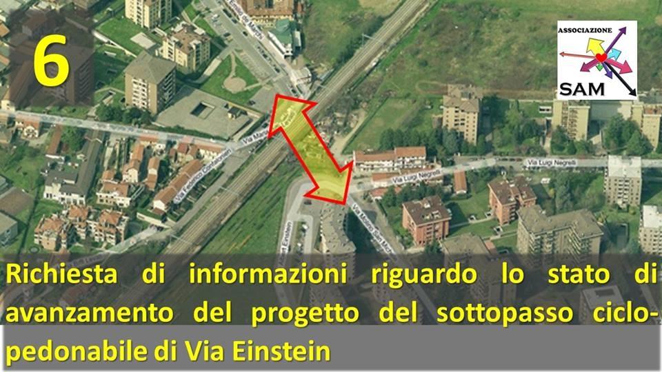 Richiesta di informazioni riguardo lo stato di avanzamento del progetto del sottopasso ciclopedonabile Via Einstein