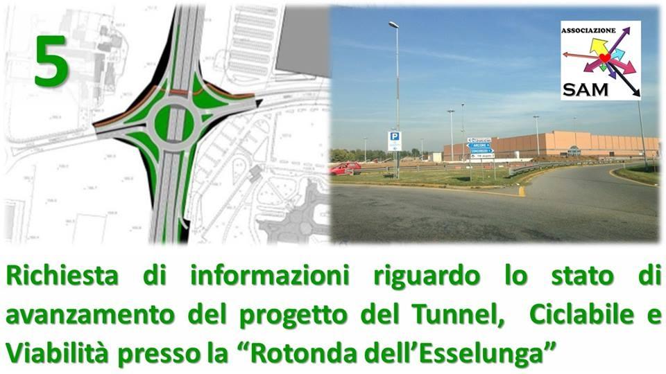"""Richiesta di informazioni riguardo lo stato di avanzamento del progetto del Tunnel/Ciclabile/Viabilità presso la """"Rotonda dell'Esselunga"""""""