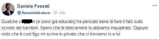 Lissone, vandali il post di Daniele Fossati