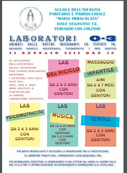 Laboratori per i più piccoli all'asilo