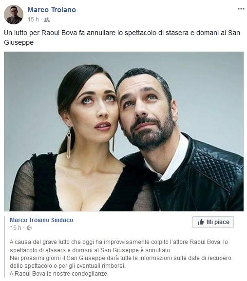 Raul Bova in lutto salta lo spettacolo a Brugherio