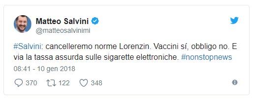 tweetsalvini vaccini obbligatori 2