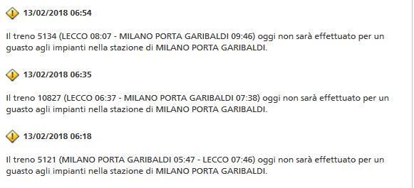Guasto alla linea ferroviaria treni per Milano in ritardo o cancellati