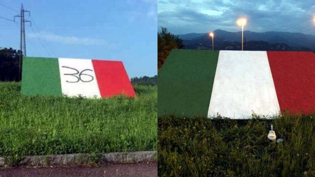 Scudetto Juve sul monumento vandalizzato e poi ripulito
