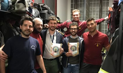 Il consigliere regionale Alessandro Corbetta (Lega) in visita ai pompieri di Lissone