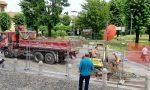 Partiti i lavori in piazza Roma a Busnago
