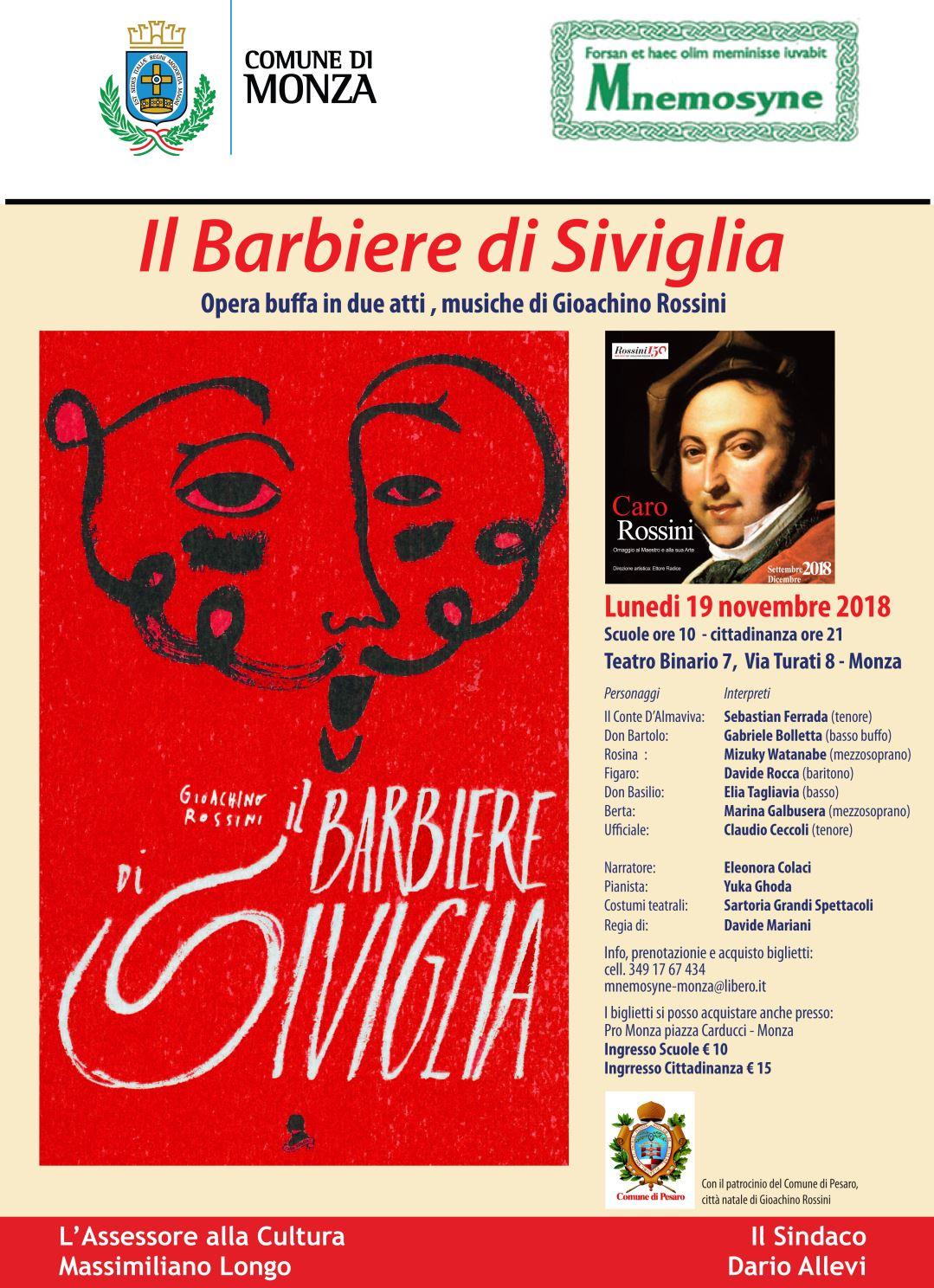 """Caro Rossini   Al Binario 7 arriva """"Il barbiere di Siviglia"""""""