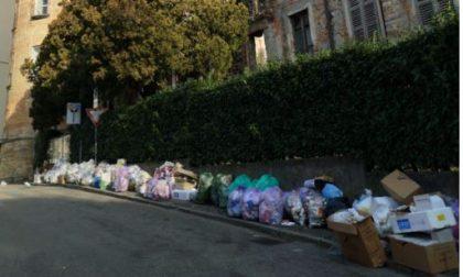 Raccolta rifiuti, è di nuovo il caos. E sotto la torre sacchi dei Comuni di Carnate e Cisano FOTO