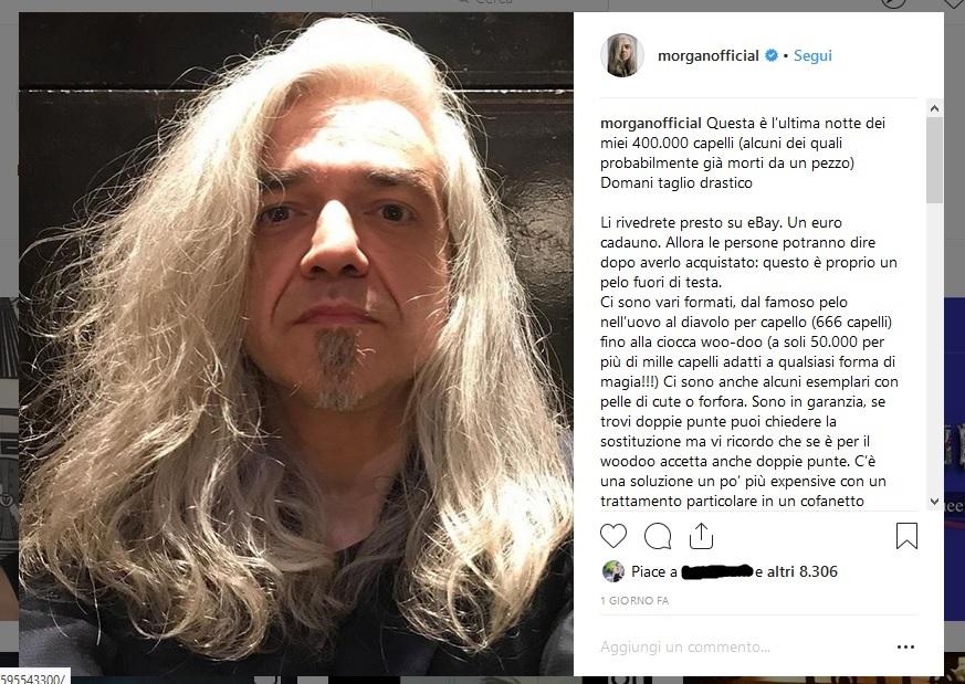 Il cantante monzese Morgan mette all asta i suoi capelli - Giornale di Monza c96aea1705e9