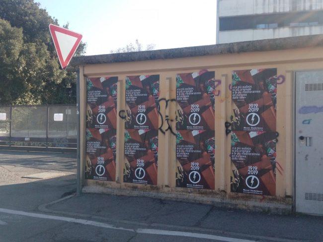 Manifesti fascisti sui muri di Besana