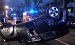 Jeep si ribalta dopo lo scontro a Seregno FOTO