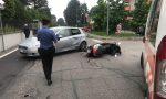 Incidente, auto brucia lo stop: ferito un motociclista