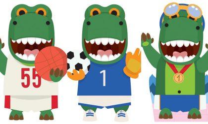 Il dinosauro mascotte di Fratelli Beretta ad Acquaworld di Concorezzo