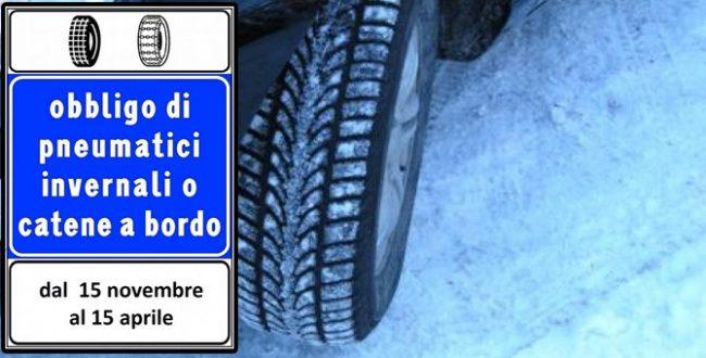 Obbligo di gomme da neve o catene a bordo su otto strade provinciali L'ELENCO
