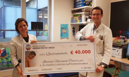Insieme per Fily dona 50mila euro all'Istituto dei tumori