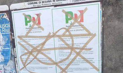 Besana, imbrattati i manifesti del Pd
