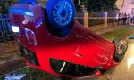 Auto si ribalta a Meda, ferita una donna FOTO
