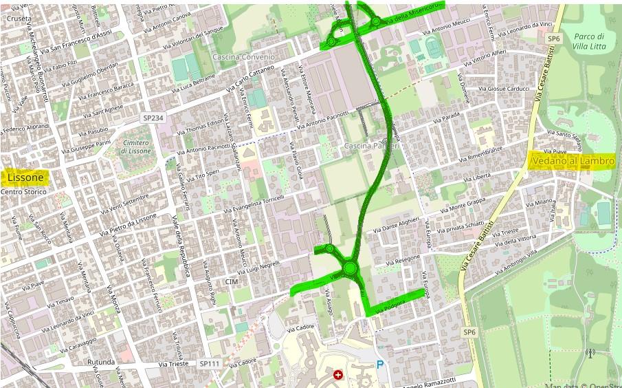 La Trm 10 (in verde) dal progetto di Pedememontana