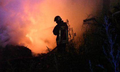 Cumulo di sterpaglie a fuoco a Biassono: pompieri al lavoro per tre ore FOTO VIDEO