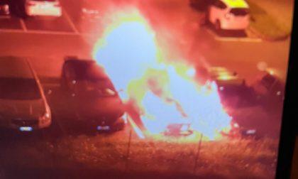 Limbiate: nella notte a fuoco quattro auto in un parcheggio FOTO