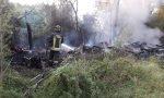 Agrate: intervento dei pompieri per un incendio di sterpaglie FOTO