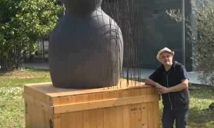 Verano, nuova  scultura  nel giardino della biblioteca