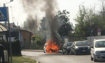 Auto distrutta dalle fiamme a due passi dall'ospedale
