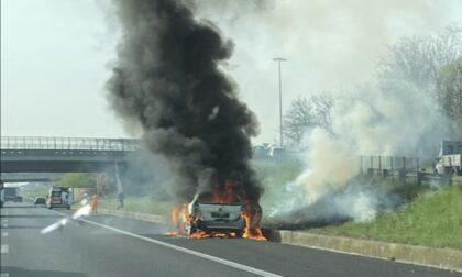 Carate Brianza, auto in fiamme sulla Statale 36