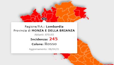 Coronavirus: l'incidenza in Brianza è scesa sotto la soglia critica. La curva lombarda decresce