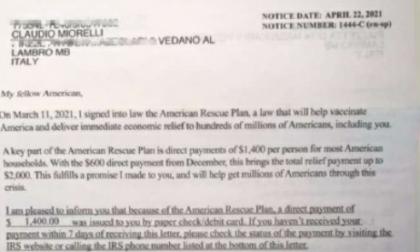 Riceve un assegno dalla Casa Bianca ma la burocrazia blocca la riscossione