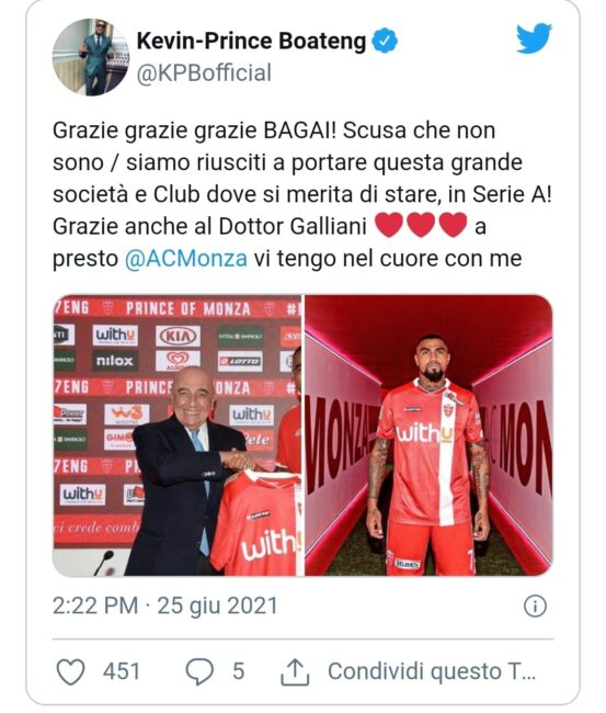 Boateng saluto Monza calcio